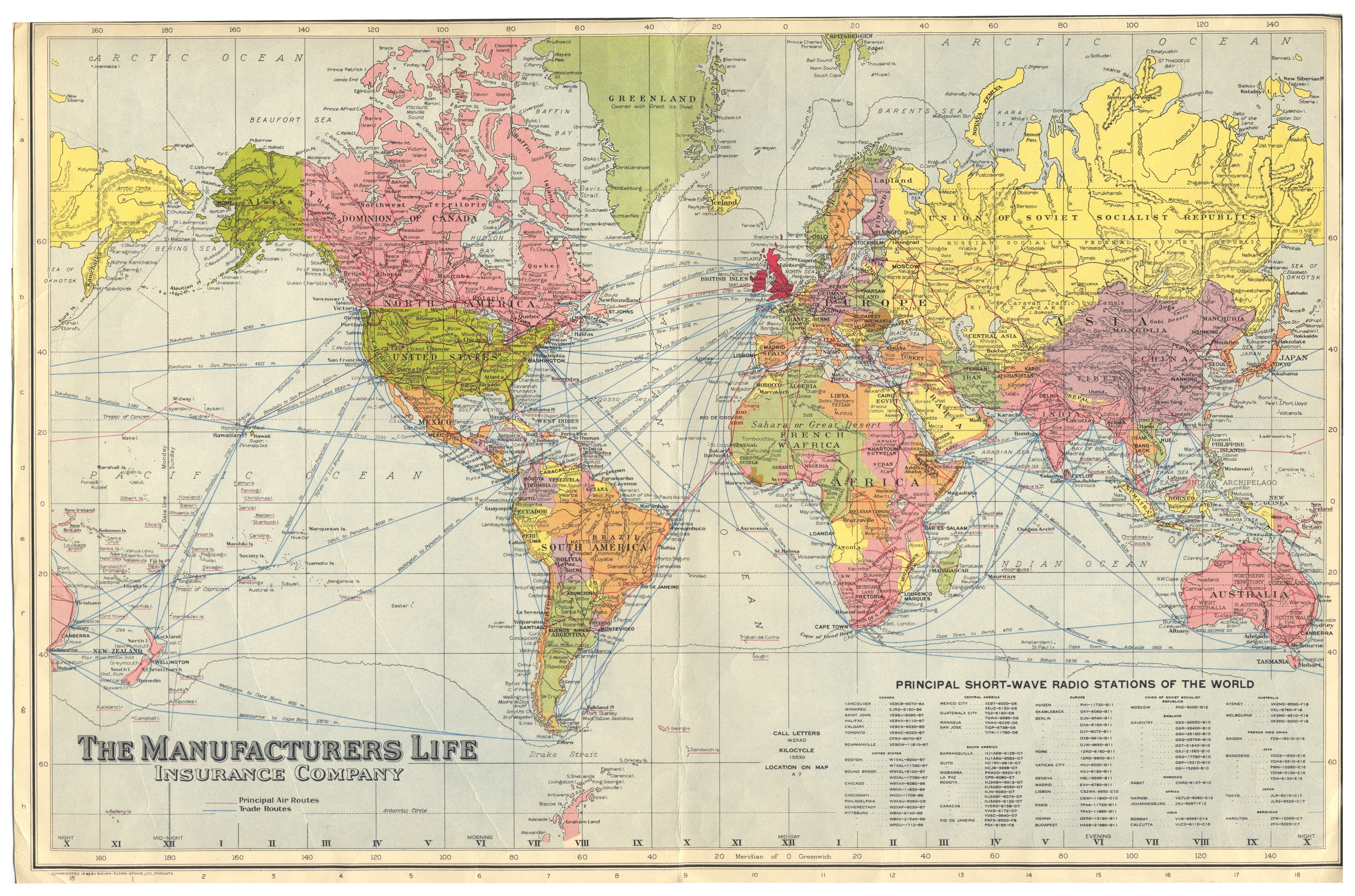 Dx history what makes this otherwise ordinary world map interesting to dxers is the table of principal short wave stations of gumiabroncs Gallery